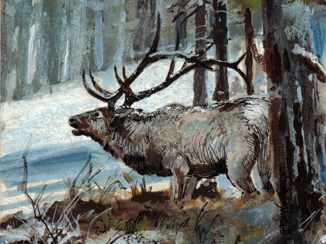 Elk in the Forest – Acrylic Painting